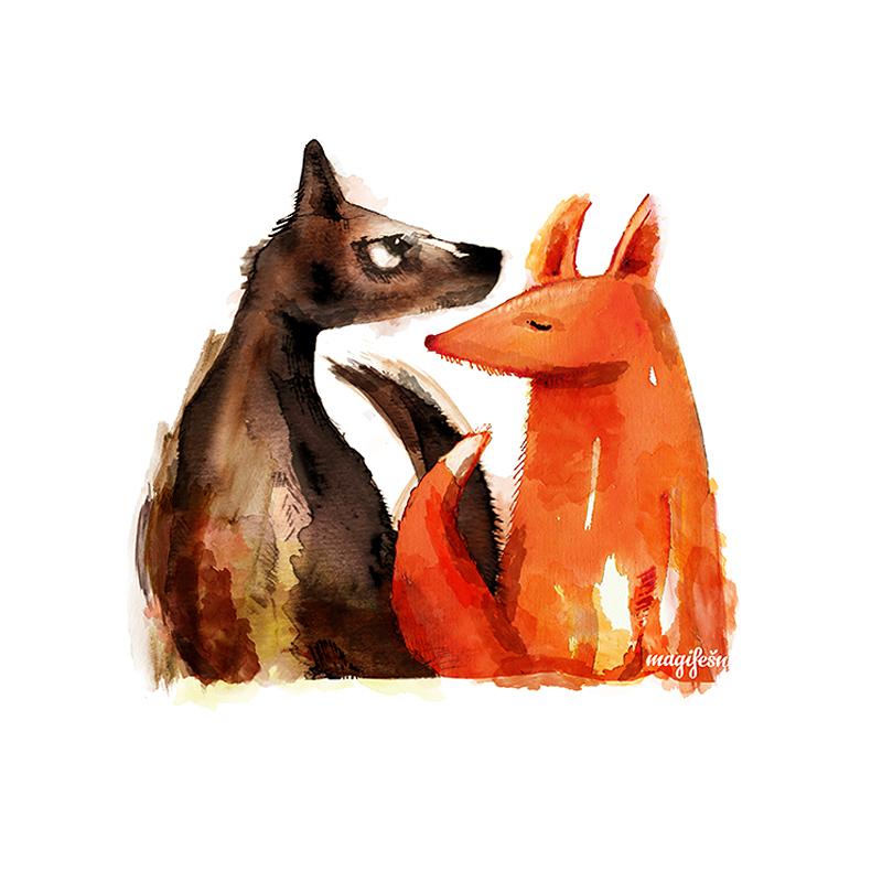 motiv-liska-a-vlk-spolu